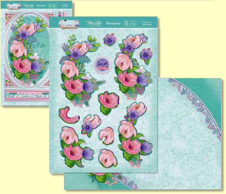 Hunkydory - Flourishing Florals Collection In Full Bloom FLODEC905 Deco Large Three Sheet Topper Set