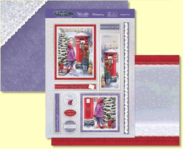 Create the magic of Christmas with the Hunkydory beautiful Christmas Post Topper Set. Relive the excitement of delivering Christmas cheer to loved ones and to Santa! The fun artwork of shows two young children posting letters through a post box covered in glistening snowflakes from the falling snow. The beautifully decorated Christmas tree in the background and sledge filled with presents creates a wonderful Christmas feel.