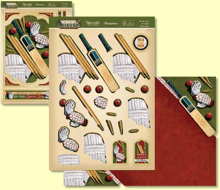 Classic sport cricket takes centre-stage in this lovely eye-catching set which features a bat, glove, balls, wickets and knee pads on the pitch ready for play! Sentiments include 'To a Top Man', 'Do What You Love on Your Special Day' and 'Sent with Love'.