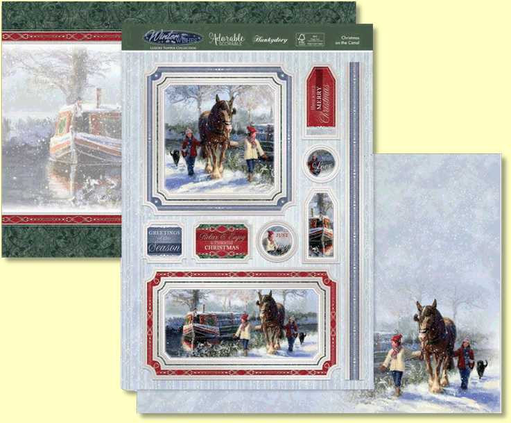The Hunkydory  Christmas on the Canal Topper Set features beautiful Christmas scenes of a magical canal, and walking a horse in the enchanting snow. The large size of the Toppers ensures they are the focal and stand out elements of your cards. The gorgeous silver foiling adds a stunning, realistic feel to your makes.
